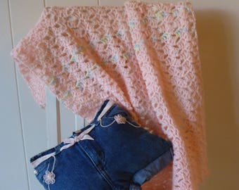 Little Girl Denim Pillow & Pink Crochet Afghan Set