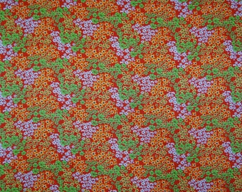 "Satin Fabric, Flower Print, Red Fabric, Dressmaking Fabric, Home Decor Fabric, 44"" Inch Indian Fabric By The Yard FSS147E"