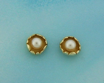 14K Gold earrings, gold and pearl earrings, Pearl studs, Tiny gold post earrings, cultured pearl studs, Solid gold earrings, June birthstone