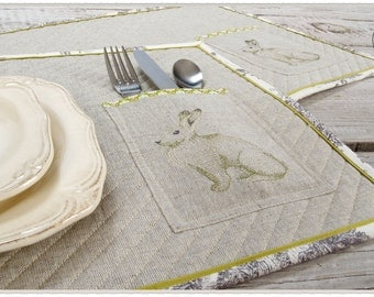Easter Placemats with cutlery pocket, embroidered Bunny,  linen and cotton,