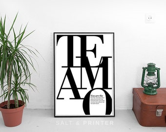 Te amo print, typography prints, inspirational prints, love prints, latin prints, I love you, love poster, love gift, black and white prints