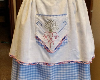 Embroidered and crocheted blue gingham vintage apron