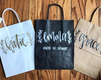 Custom name gift bags - bridesmaid gift bags, groomsman gift bags, wedding party gift bag, hand lettered, wedding gift bags, custom gift bag