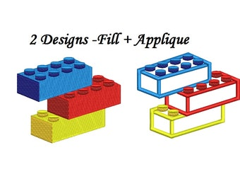 Lego Blocks Embroidery - Lego Bricks applique 2 designs instant download