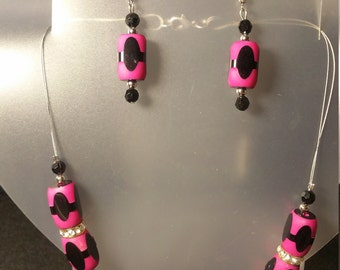 Hot pink and black necklace/earring set with rhinestones