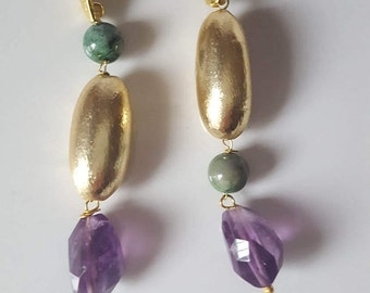 Handmade earrings with natural stones