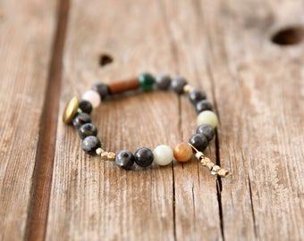 Gemstone Bracelet, Earth colors bracelet, Beaded Bracelet, Stacking Bracelet, Womens Bead Bracelet, Gemstone Bracelet, Yoga Bracelet