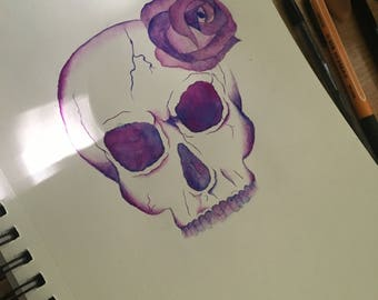 Skull & Rose Watercolor Painting/Print