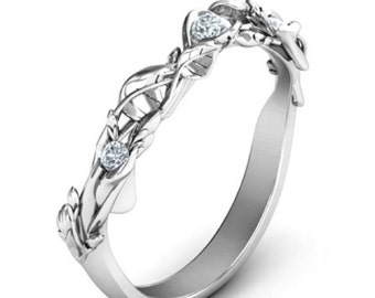 10K White Gold Leaf Accented Band Cubic Zirconia Diamonds