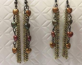 Heart and Chain Earrings