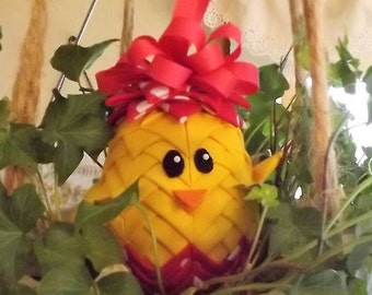 """3"""" Easter Chick Quilted Ornament"""