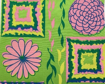 Vintage 1960's-1970's Key West Hand Print Fabrics, Inc. bright green pink Spring fabric squares