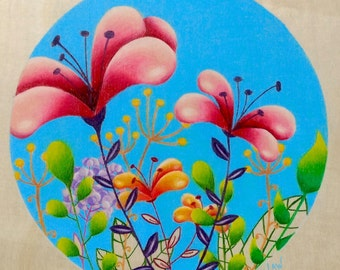 Spring Floral 1 / Original Colored Pencil Drawing on Wood
