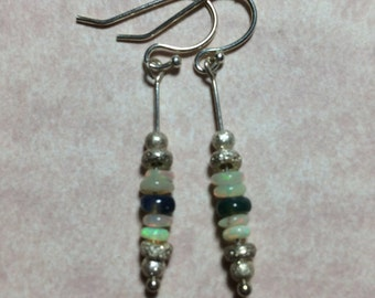 Dangle Earrings - Sterling Silver & Opal