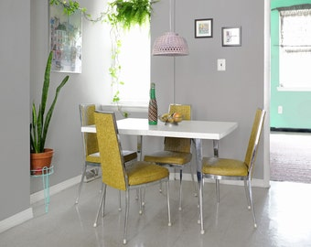 Mid Century Modern Dining Room Set / 1968 Chromcraft Dining Table and Yellow Chairs