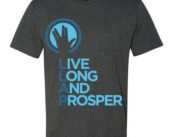 Live Long and Prosper + Hand Salute Crewneck Tee - Mens and Ladies Sizes