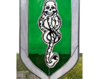 Morsmordre -- Harry Potter Dark Mark Themed Stained Glass Hanging Panel