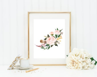 "Floral printable, floral wall art, 8x10"", Nature art print, Watercolor floral print, printable floral art, Floral nursery decor, home decor"