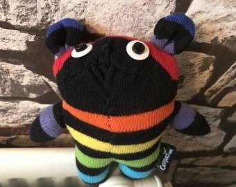 Handmade Rainbow Stripey Sock Bear
