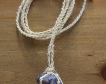 Hemp-wrapped Sodalite Necklace