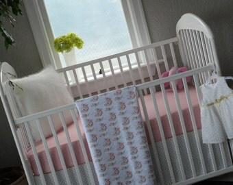 Pink crib bedding | Etsy : pink crib quilt - Adamdwight.com