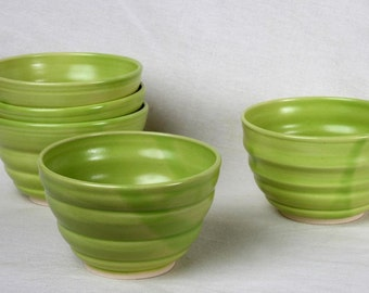 Ceramic bowls, chartreuse bowl, whimsical, ice cream bowls, fruit salad bowls,