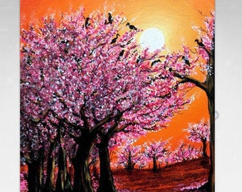 Cherry Blossoms Painting - Gifts for her - Pink Canvas Painting Art - Landscape Painting - Large Cherry Blossom Art - Pink Flower Painting