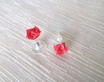 Origami mini pink earrings
