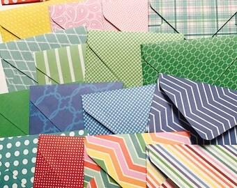 20 handmade small mini envelopes, open when envelopes, rainbow party coin envelopes, colorful envelope, notecard set, gift card holder