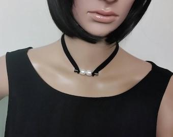 Pearl Choker, Black Choker, Leather Choker, Womens  Necklace, Choker Necklace, Pendant Choker, Thin Choker, Pearl Leather Choker Necklace