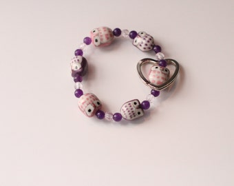 Owl Be Seeing You Keychain Bracelet (Pink & Purple)