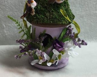 Decorated Lavender Birdhouse (#001)