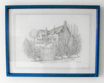 C. Varley Print, depicting a cottage garden.Vintage prints.British paintings.Prints