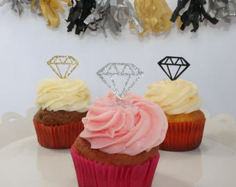 Diamond Cupcake Toppers – Glitter Diamond Cupcake Toppers – Bachelorette Party Decoration – Bridal Shower Decorations – Diamond Cupcakes