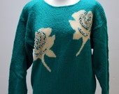 Vintage 1980s Turquoise Jumper with White Flower Pattern PearlEffect Beads and Shoulder Pads Knitwear Pullover Sweater Winter Warm Angora