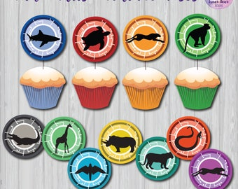 Wild Kratts Creature Discs, Wild Kratts Party Decoration, Wild Kratts Birthday Party, Wild Kratts Cupcake Toppers, Wild Kratts Printable
