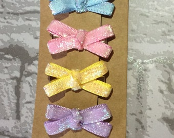 Cute small glitter ribbon bows - pack of 4