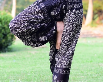 Black Little Flowers Jumpsuit Harem Pants Yoga pants - JS003