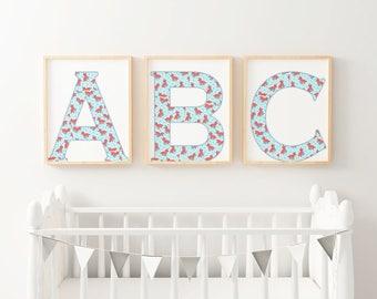 Nursery Initial wall art printable, cartoon fox animal print, Alphabet letter, digital download nursery art, nursery decor, art child room