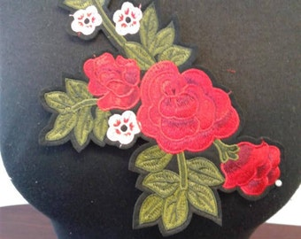 Iron- On red flower patch applique #7C1481