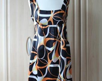 Vintage Black Orange and White Dress by Urban Behaviour US Size 8 / Uk/Aus/NZ Size 12 Polyester Satin D7