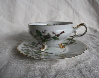 Ucagco Fine China - Vintage Matching Dogwood Blossom Teacup and Saucer - Made in Japan