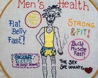 Hand embroidery art. Hoop art - Men's Health -