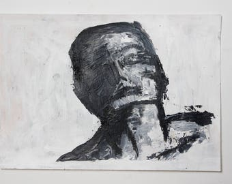 Expressive Portrait - Black And White Painting