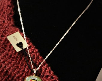 Pickupstick  fused glass necklace Item #1087