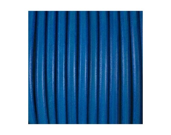 European 5mm blue round leather cord - Genuine blue leather cord - Jewelry findings - First quality leather made in Spain - PER YARD