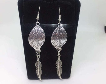 Leaf and Feather dangle earrings
