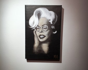MARILYN is an 8x12 giclee from original charcoal sketch