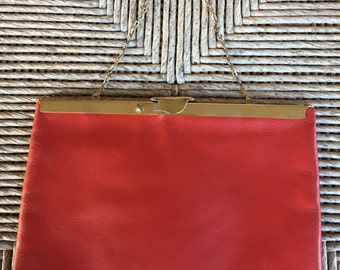 Vintage Bright Red Leather Gold Frame Convertible Clutch Evening Bag by Etra - Frame Opens into a Square
