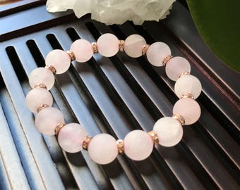 10mm Matte Rose Quartz Yoga Mala Beaded Bracelet. Healing Natural Gemstone Bracelet. Stretch Bracelet. Wrist Mala.